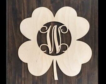 "24"" Wood Shamrock Clover Shape Unfinished 4 Leaf Monogram Lucky Cutout St Patricks Day"