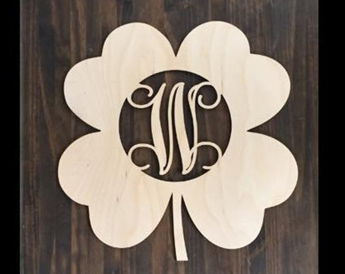 "24"" Wood Shamrock Clover Shape Unfinished 4 Leaf Monogram Lucky Cutout St Patricks Day"