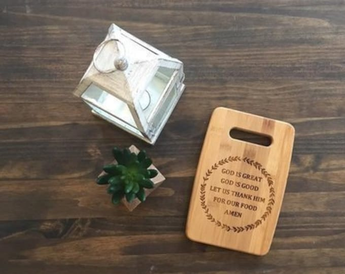 """Medium 9x12"""" Laser Engraved Bamboo Cutting & Serving Board God is Great God is Good"""