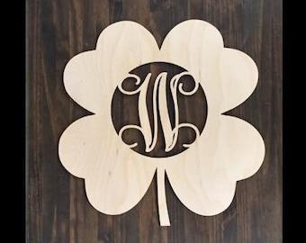 "12"" Wood Shamrock Clover Shape Unfinished 4 Leaf Monogram Lucky Cutout St Patricks Day"