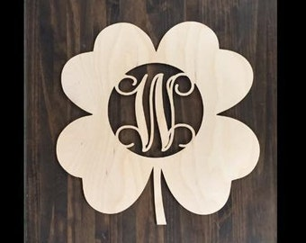 "18"" Wood Shamrock Clover Shape Unfinished 4 Leaf Monogram Lucky Cutout St Patricks Day"