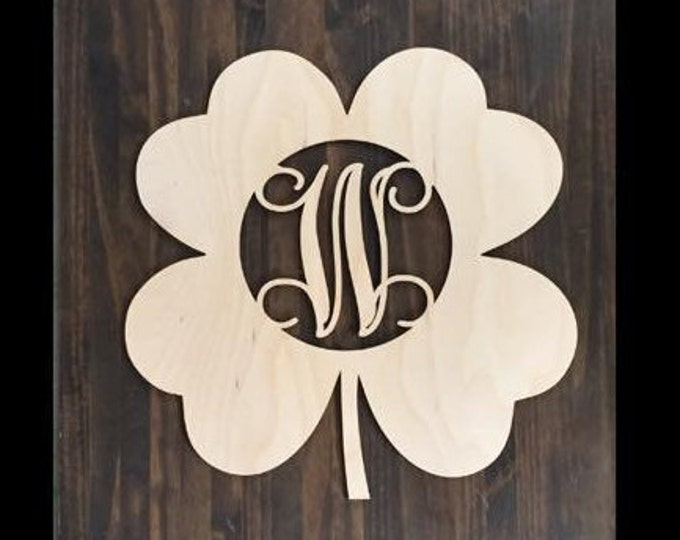 "18"" Wood Shamrock Clover Shape Unfinished 4 Leaf Monogram Lucky Cutout St Patricks Day"