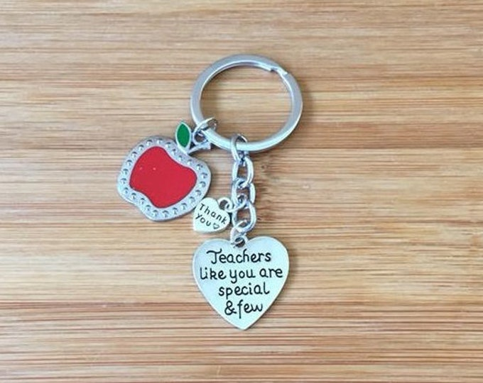 Teachers like you are special & few keychain heart red apple charm teacher gift appreciation thank you end of year