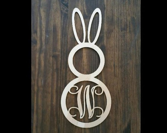 """18"""" Wood Bunny Shape Single letter Curly Monogram Laser Cutout Custom Initial Unfinished Easter Spring"""