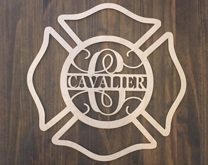 "18"" Wood Maltese Cross Firefighter Fireman Monogram Laser Cutout Shape Unfinished"