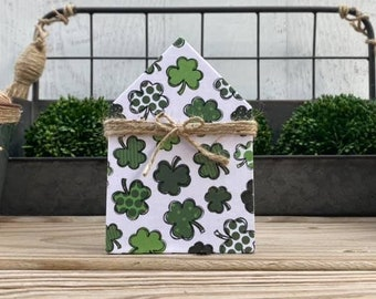 "Mini 5x3.5"" Shamrock Watercolor Wood House Jute Simple Shelf Sitter Sign Handmade Tiered Tray Decor St Patricks Day Lucky Irish"