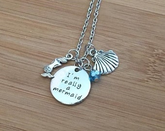 I'm really a mermaid Stamped Necklace beach sea shell blue adjustable chain charm summer vacation