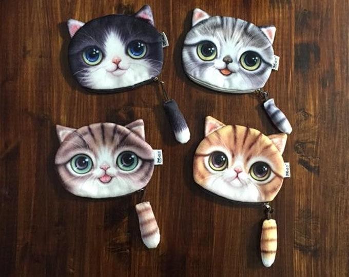 Plush 3D Cat Kitten Kitty Face Coin Purse Gray Black Orange Brown Tail Zipper Polka Dot Lined