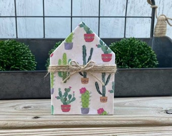 "Mini 5x3.5"" Cactus Succulent Wood House Jute Simple Shelf Sitter Sign Handmade Tiered Tray Decor Cacti"