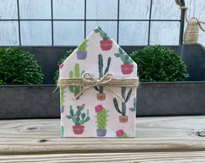"Mini 5x3.5"" Cactus Succulent Wood House Jute Simple Shelf Sitter Sign Handmade Tiered Tray Decor Cacti"