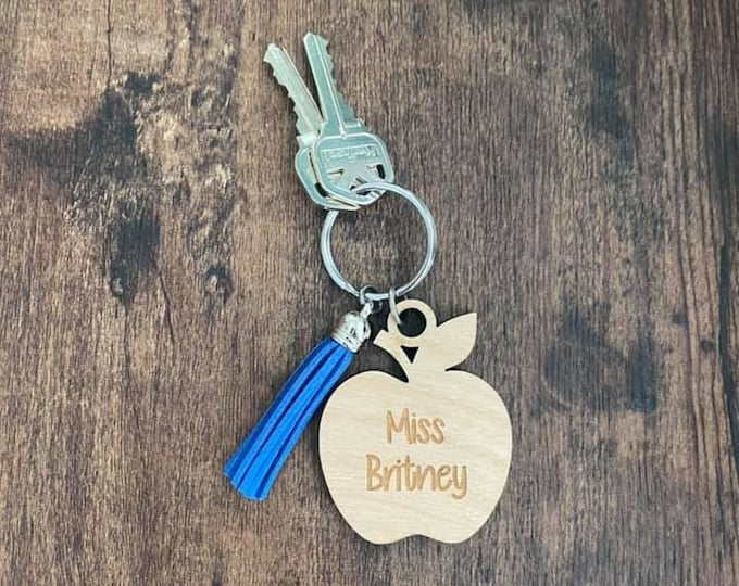 Apple Shape Custom Keychain Teacher Gift Personalized Tassel End of the Year Thank You Teacher Appreciation Christmas