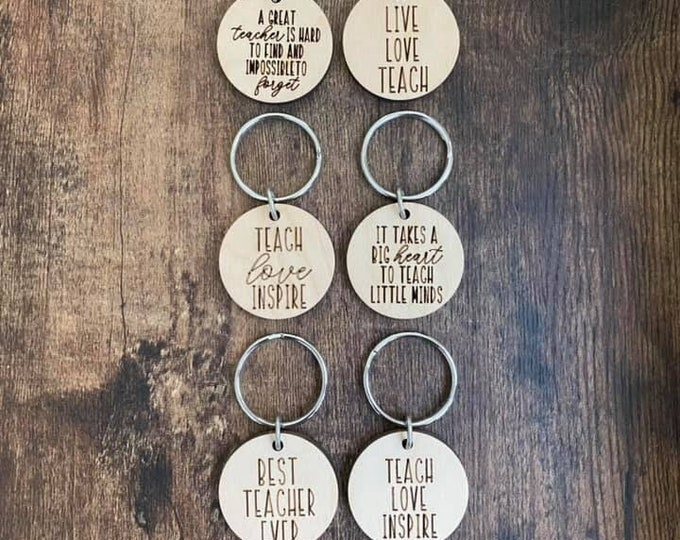 ROUND Teacher Gift Motivational Positive Sayings Keychain Laser Cut Inspirational Uplifting Unique Message Gift Wood Saying End of the Year