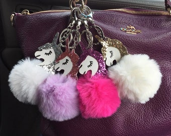 Unicorn glitter pom pom keychains plush silver gold pink purple fluffy