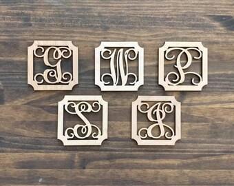 "4"" Wood Fancy Square Monogram Initial Laser Cutout Shape Ornament Single Letter Unfinished"