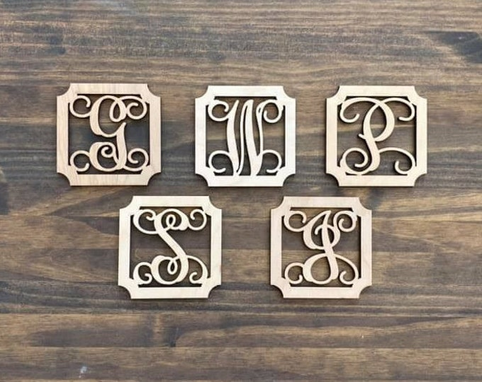 "4"" Wood Fancy Square Monogram Initial Laser Cutout Shape Ornament Single Letter Unfinished"
