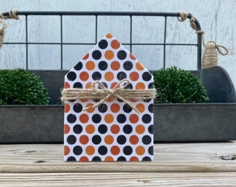 "Mini 5x3.5"" Orange Black Polka Dot Jute Simple Shelf Sitter Sign Handmade Tiered Tray Decor Halloween"