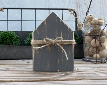 "Mini 5x3.5"" Gray Grey Wood House Distressed Jute Simple Shelf Sitter Sign Handmade Tiered Tray Decor"