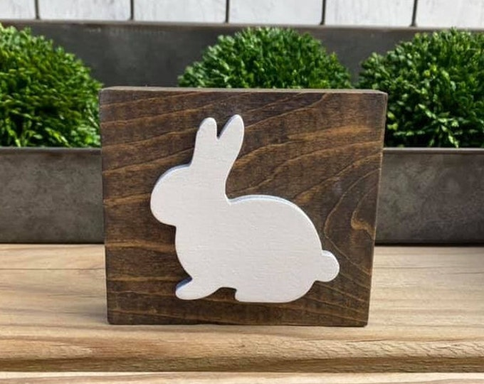 """Mini 4x3.5"""" White Bunny 3d Distressed Simple Shelf Sitter Sign Handmade Tiered Tray Easter Spring Rabbit Stained Wood"""