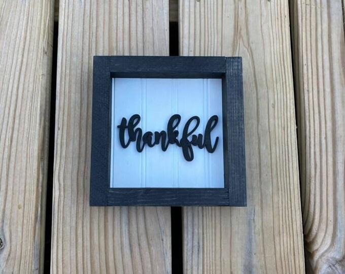 "Black Small 6.5x6.5"" Cursive Thankful Framed Shelf Sitter Sign Handmade 3d Laser Cut Bead board"