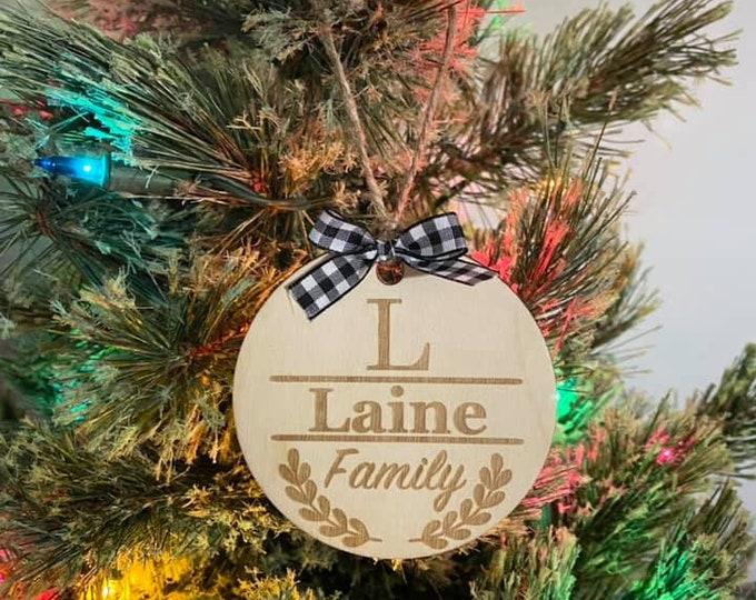 Custom Last Name Family Wood Ornament Laser Engraved Natural Christmas Gift Wedding Anniversary Housewarming Buffalo Plaid Personalized