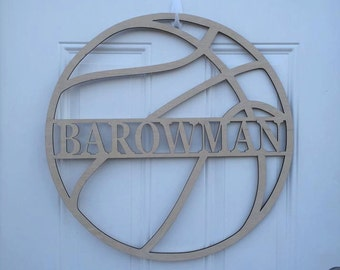 "24"" Wood Basketball Last Name Team Name Laser Cutout Sport Shape Unfinished"