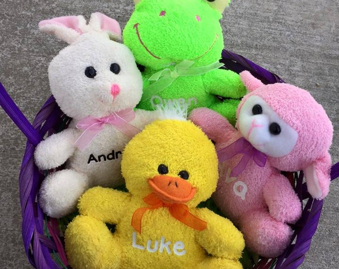 Personalized Plush Bunny Lamb Frog Duck Stuffed Animal Easter Basket