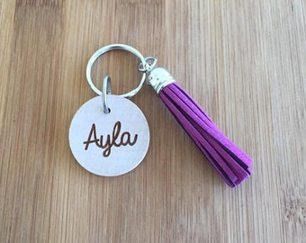Laser Engraved Wood Disc Personalized CURSIVE name Tassel Keychain