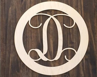 "24"" Wood Single letter Curly Monogram Laser Cutout Shape Custom Initial Circle Unfinished"