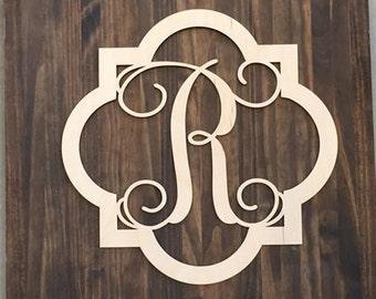 "12"" Wood Quatrefoil Single letter Curly Monogram Laser Cutout Shape Custom Initial Unfinished"