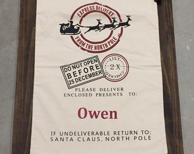 Santa Sleigh Bag Kids Name Christmas Personalized Custom Gift Bag Presents Cotton Polyester Canvas