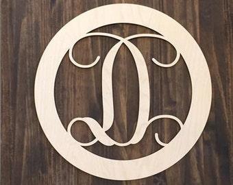 "12"" Wood Single letter Curly Monogram Laser Cutout Shape Custom Initial Circle Unfinished"