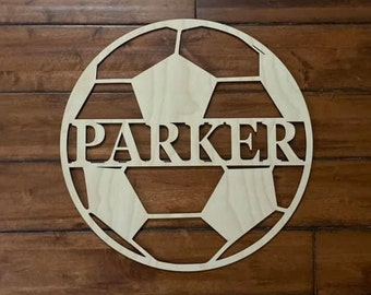 """12"""" Wood Soccer Ball Last Name Team Name Laser Cutout Sport Shape Unfinished"""