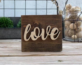 """Mini 4x3.5"""" Cursive Love Simple Shelf Sitter Sign Handmade 3d Laser Cut Wood Stained Tiered Tray Decor"""