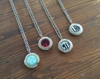 Customized Circle Monogram Round Enamel Photo Locket Necklace Mint Pink White Black