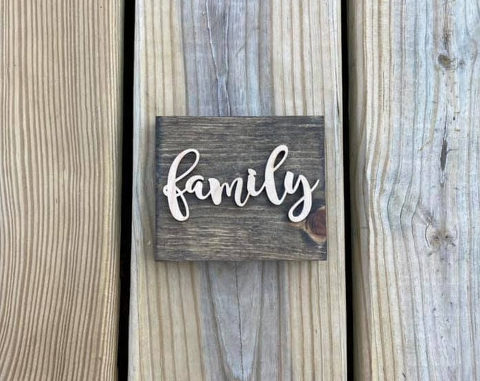 """Mini 4x3.5"""" Cursive Family Simple Shelf Sitter Sign Handmade 3d Laser Cut Wood Stained"""
