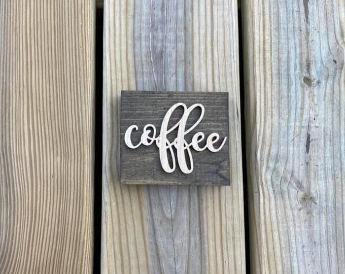 "Mini 4x3.5"" Cursive Coffee Simple Shelf Sitter Sign Handmade 3d Laser Cut Wood Stained"