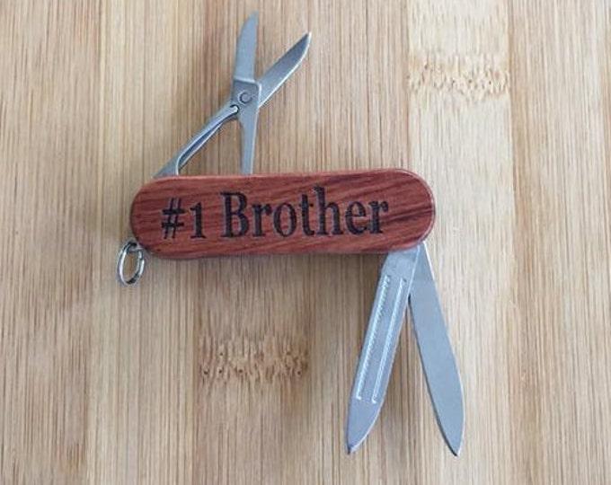 Brother #1 Laser Engraved Rosewood Pocket Knife Tool