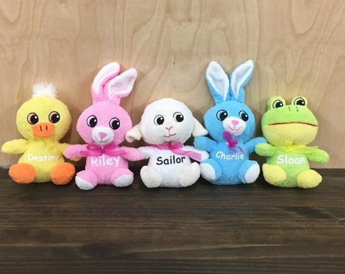 Personalized Easter Basket Animals Stuffers Pink White Blue Green Yellow Bunny Lamb Chicken Frog Custom Plush
