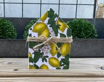 "Mini 5x3.5"" Lemon Wood House Jute Simple Shelf Sitter Sign Handmade Tiered Tray Decor Kitchen Clean Lemons Summer"