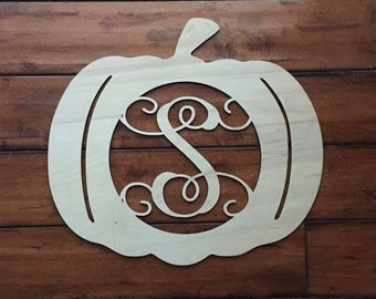 "12""  Wood Pumpkin Monogram Laser Cutout Shape Halloween Fall Unfinished"