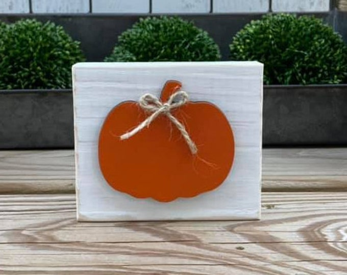 "Mini 4x3.5"" Orange Pumpkin Fall 3d White Distressed Simple Shelf Sitter Sign Handmade Tiered Tray Decor Jute"