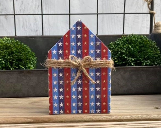 """Mini 5x3.5"""" Red White Blue Patriotic Wood House Jute Simple Shelf Sitter Sign Handmade Tiered Tray Labor Day Summer Freedom USA 4th of July"""