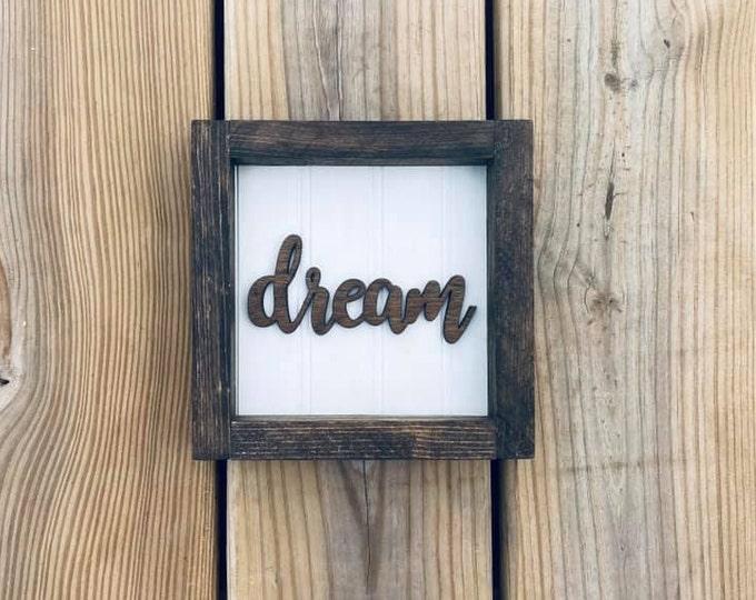 """Brown Small 6.5x6.5"""" Cursive Dream Framed Shelf Sitter Sign Handmade 3d Laser Cut Bead board"""