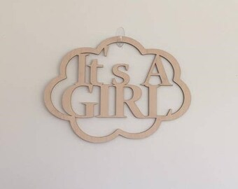 "12"" Wood It's A Girl Laser Cutout Pregnancy Birth Announcement Nursery New Baby Cloud Shape Unfinished"