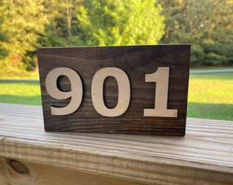 "Area Code Simple Shelf Sitter Sign 6""x3.5"" Handmade 3d Laser Cut Wood Stained Tiered Tray Decor"