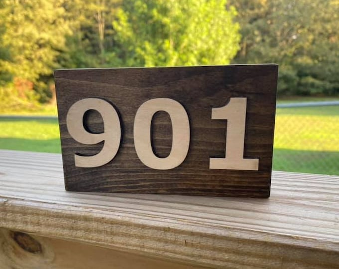 """Area Code Simple Shelf Sitter Sign 6""""x3.5"""" Handmade 3d Laser Cut Wood Stained Tiered Tray Decor"""