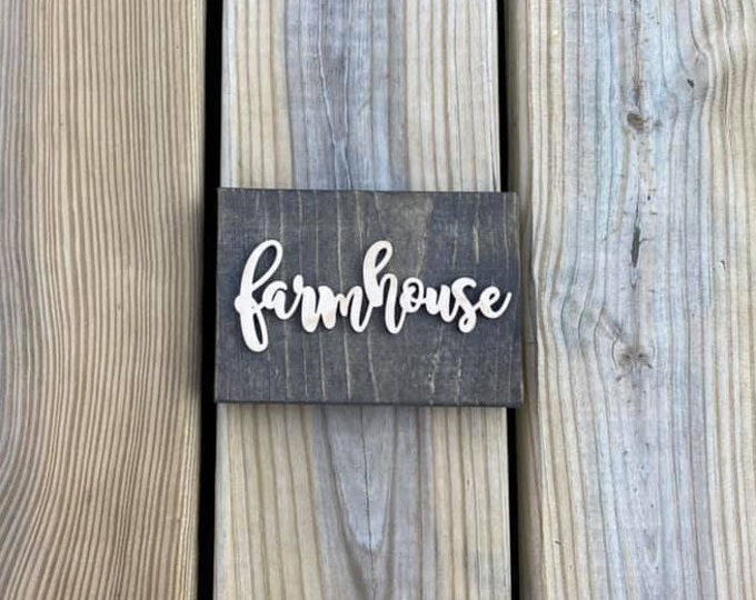 """Mini 5x3.5"""" Cursive Farmhouse Simple Shelf Sitter Sign Handmade 3d Laser Cut Wood Stained Tiered Tray Decor"""