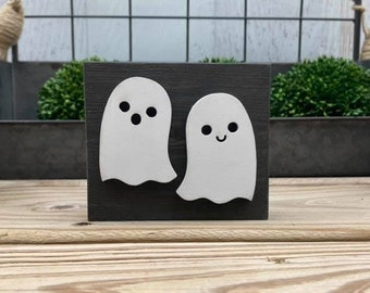 "Mini 4x3.5"" Halloween Ghost 3d Black Distressed Simple Shelf Sitter Sign Handmade Tiered Tray Decor Oct 31"