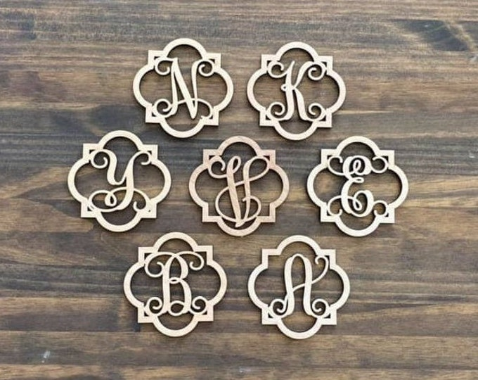 "4"" Wood Quatrefoil Monogram Initial Laser Cutout Shape Ornament Unfinished"