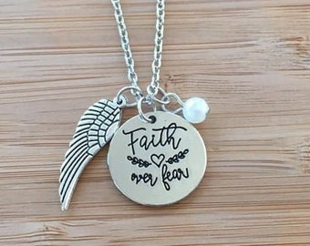 Faith Over Fear Stamped Necklace Inspirational Heart Cursive Wing charm white adjustable chain